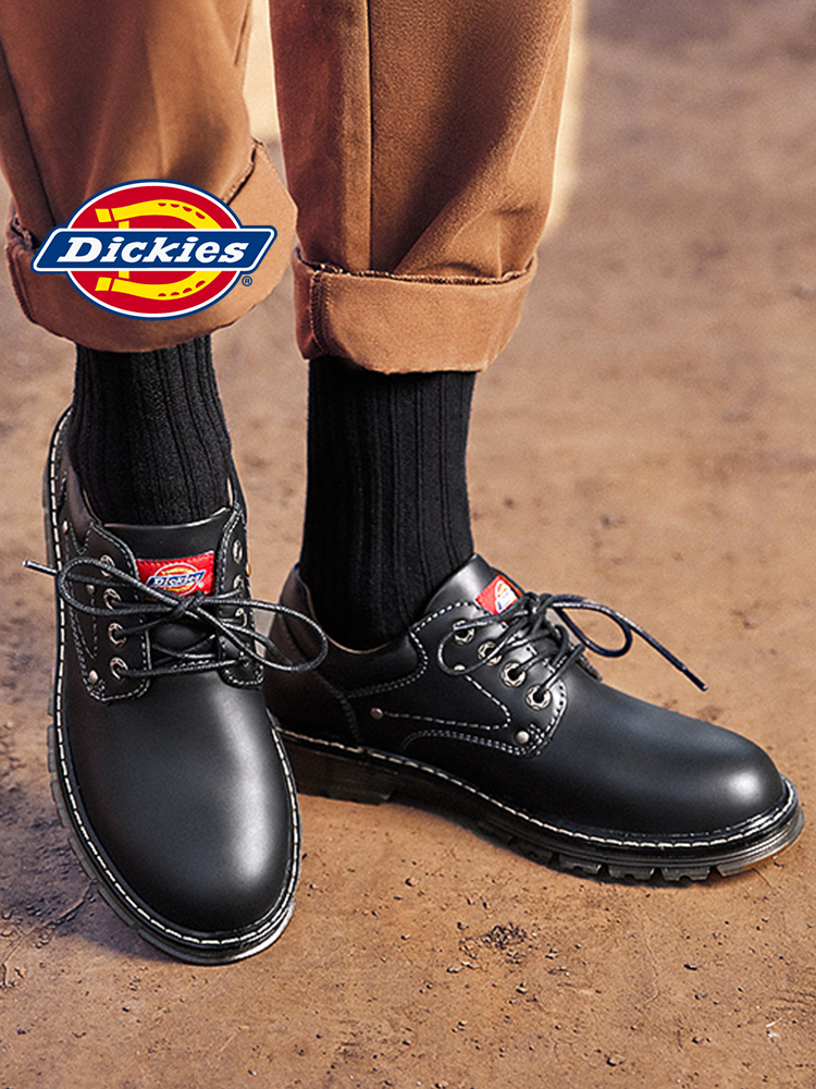 Original Dickies Men S Shoes Spring British Fashion Work Shoes Men Low Top Casual Leather Shoes Round Head Black Big Head Shoes Men S Casual Shoes Aliexpress