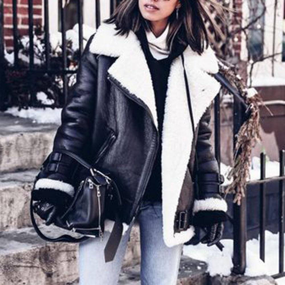 Thicken Women PU Jackets Tops Black Motorcycle Punk Outwear Winter Autumn Casual Zipper Straight Jackets Overcoats Female Tops