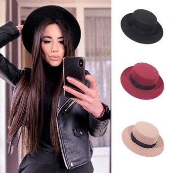 Spring Autumn Wool Boater Flat Top Hat For Women's Felt Wide Brim Fedora Hat Jazz Cap Classic Bowler Gambler Top Hat
