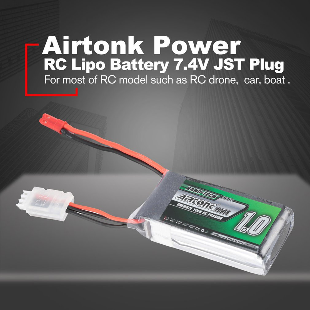 Airtonk Power 7.4/11.1/14.8V 450/600/850/1100/5200mAh 30C 2s Lipo Battery JST/T/XT30/XT60 Plug Rechargeable RC Drone Car Boat image