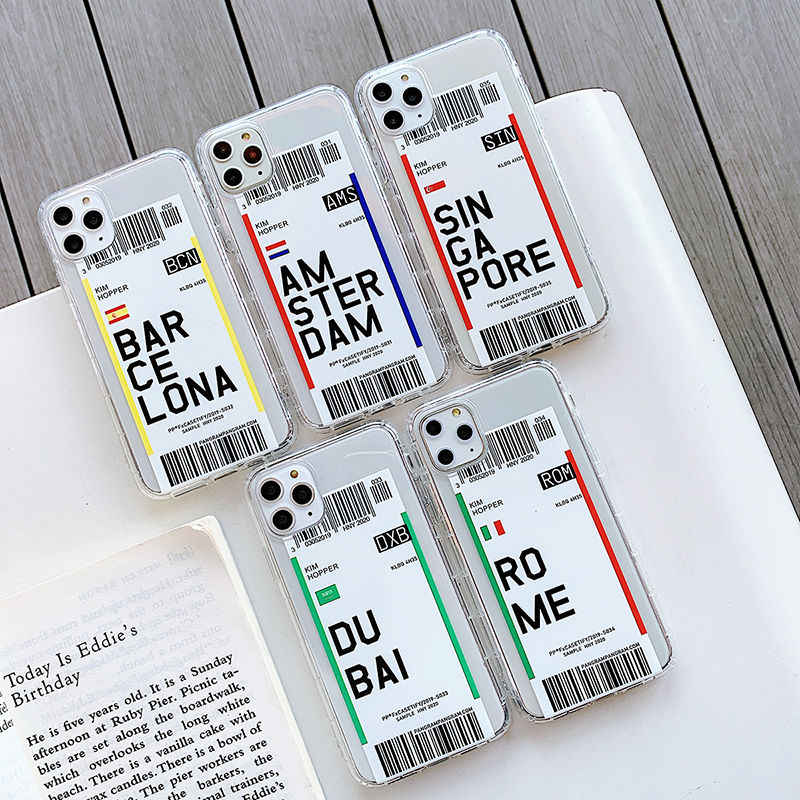 INS Funny Air Tickets funda para teléfono con etiqueta de código de barras para iPhone 11Pro X XR XS Max 6S 7 8Plus funda transparente de TPU suave con billete de vuelo