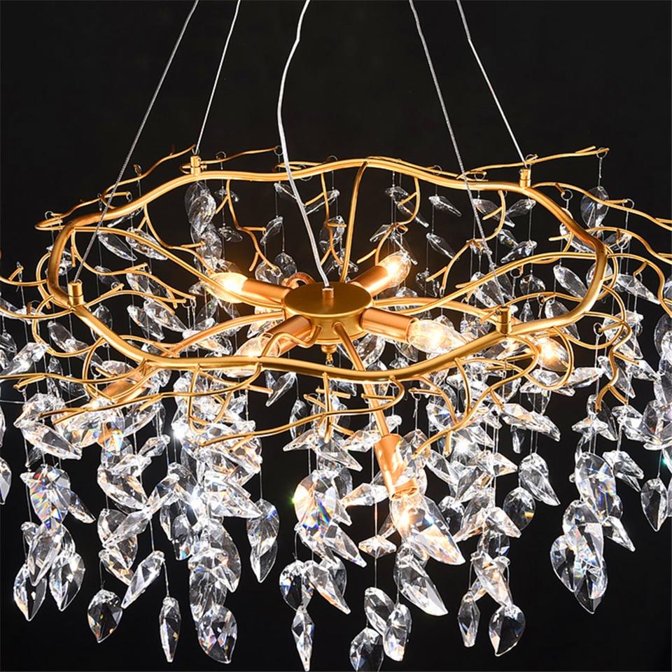 Image 5 - Nordic Luxury Gold Crystal Chandelier Lighting Modern Large Lustre Hanging Lamp for Living Room Hotel Hall Art Decor LightingChandeliers   -