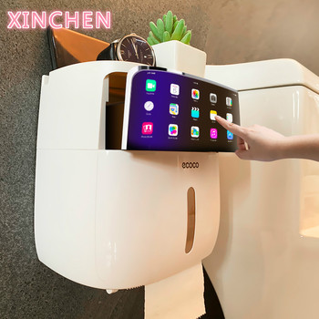 Waterproof Toilet Paper Holder Plastic Wall Mounted For Toilet Paper Towel Bathroom Shelf Storage Box Tray Toilet Roll Holder stainless steel toilet paper tray roll traceless tissue paper holder storage box wall mounted bathroom wc shelf accessories