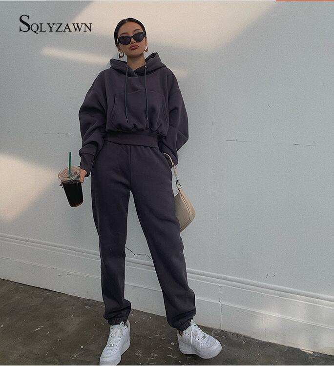 Autumn Winter Streetwear Women Joggers 2 Piece Sets Hooded Sweatshirt Pants Two Piece Set Tracksuit Fleece Outfits Sweatpants