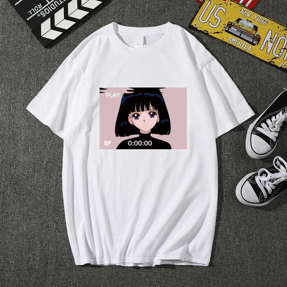High Quality Fashion Sad Girl Retro Japanese Anime Vaporwave T-Shirt Men Funny Tops Tee Shirt Harajuku T-Shirt Streetwear