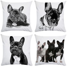Pillowcase Budding French Bulldog Dog Pillowcase Ultra-soft Pillow Short Plush Single Double-sided Pillowcase Pillow Cover 45cm