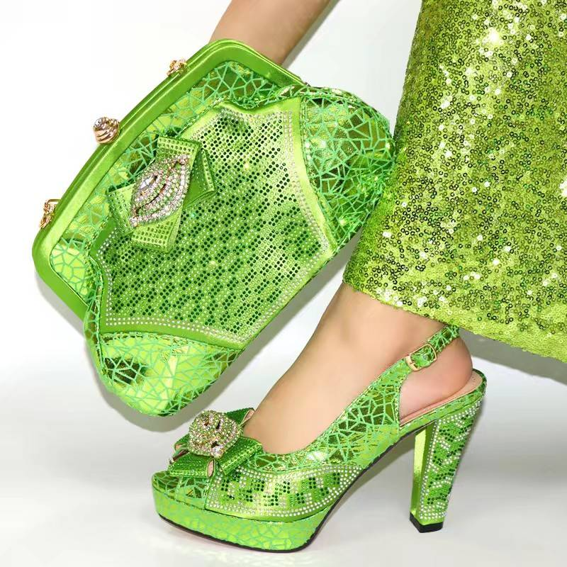 Fashion lemon women pumps match handbag set with rhinestone decoration african shoes and bag for party dress V280,heel 11.3CM
