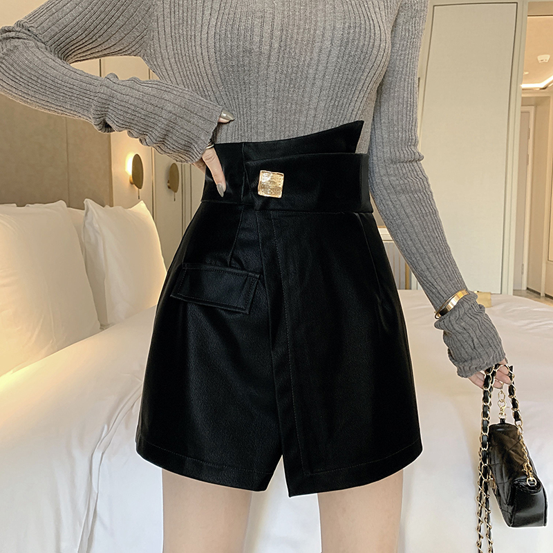 S-XL Skirt Shorts Plus Size High Waist Irregular Wide Leg Shorts Female Solid Pocket Fake Skirts Black Zipper Skirts Shorts 1