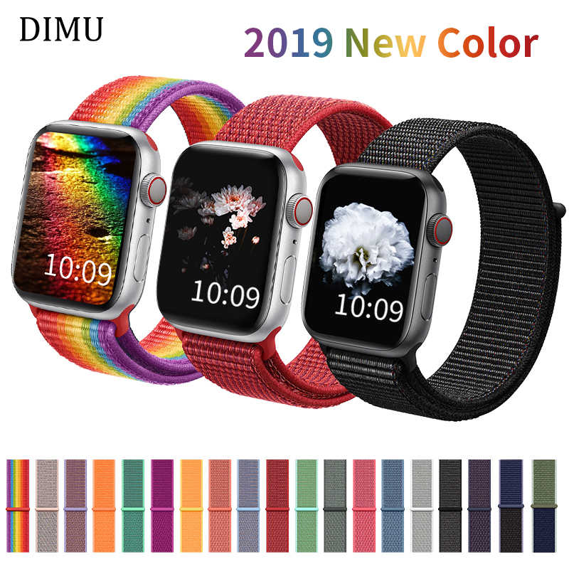 DIMU Band For Apple Watch Series 5/4/3/2 38mm 42mm Nylon Soft Breathable Replacement Watchband For iWatch Sport Strap 42mm 44mm