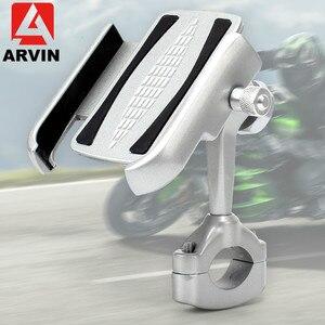 Image 4 - ARVIN アルミマウンテン自転車バイクハンドルバー電話ホルダースタンド 360 調節可能なオートバイバックミラー 4 6.5 インチ電話マウント