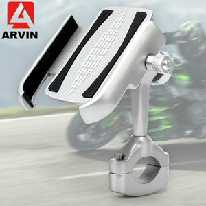 Image 4 - ARVIN Aluminum Mountain Bicycle Handlebar Phone Holder Stand 360 Adjustable Motorcycle Rearview Mirror 4 6.5 inch phone Mount