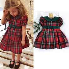 Kids Baby Girls Dress Red Plaid Clothes 0-4T