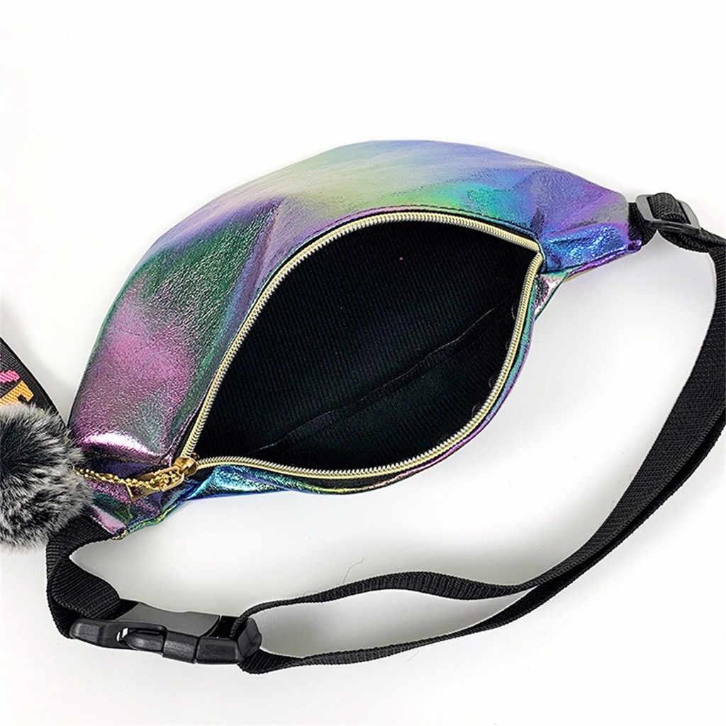 Vrouwen Meisjes Taille Grappige Pack Belt Bag Pouch Hip Bum Tassen Reizen Sport Kleine Portemonnee Reflecterende Laser Schouder Punk Bag # Y5