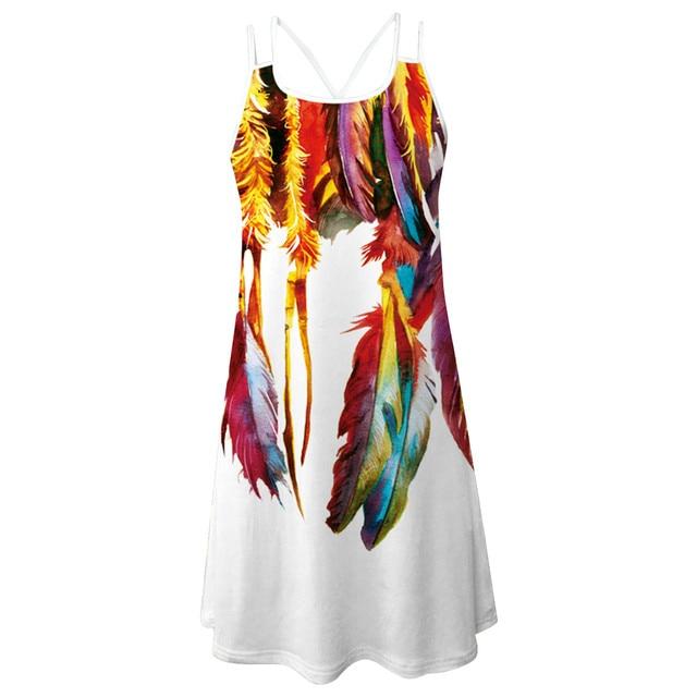 Women'S Summer Short Suspender Dress 3d Printing Sling O-Neck Hollow Out Slim Bottoming Shirt Ladies Dress платье летнее M* 5