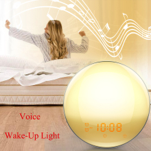 wake Alarm Clock 7 Colors Alexa Phone App Control Smart Wake Up Light Digital Night Light FM Radio Music Dimmable Voice Lamp