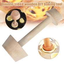 Hot Egg Tarts-Tamper Double Side Wooden Pastries Pusher DIY Cake Baking Shaping Kitchen Tool Wooden Egg Tart Making PUO88