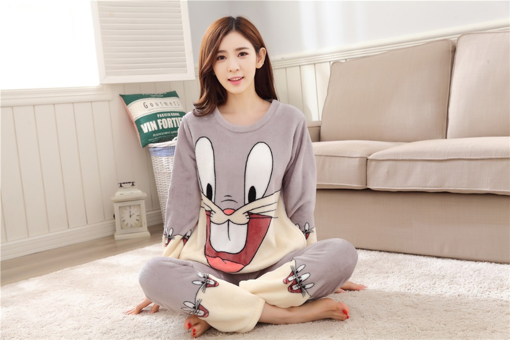 Women Pajamas Set For Autumn cute cartoon pink Women Clothes Sleepwear Nightgown For Women Long Sleeve And Pants Hot Sale pijama 72