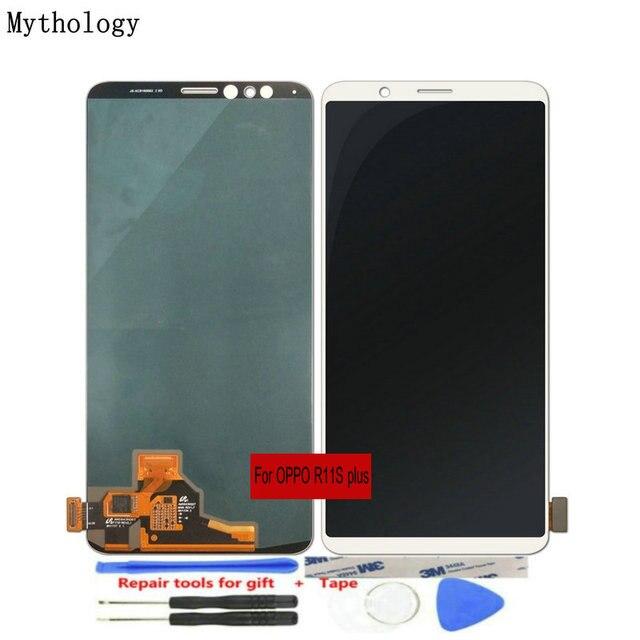 """OPPO için R11s artı LCDs dokunmatik ekran 6.43 """"ekran çerçeve meclisi ile yedek cep telefonu panelleri tamir araçları mitolojisi"""