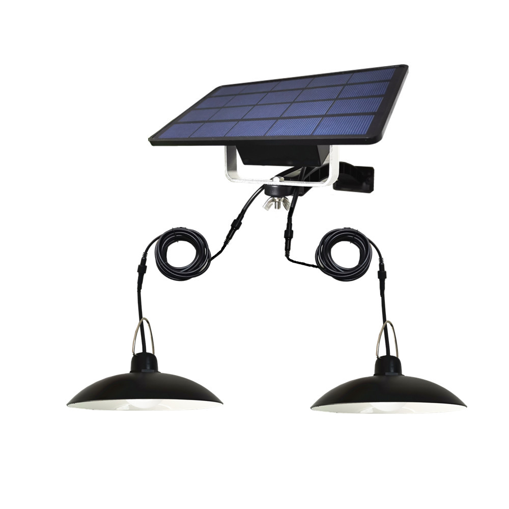 Double Heads LED Solar Lamp Outdoor/Indoor Emergency Light With 3M Extension Cord Waterproof For Camping Terrace Tent Chandelier