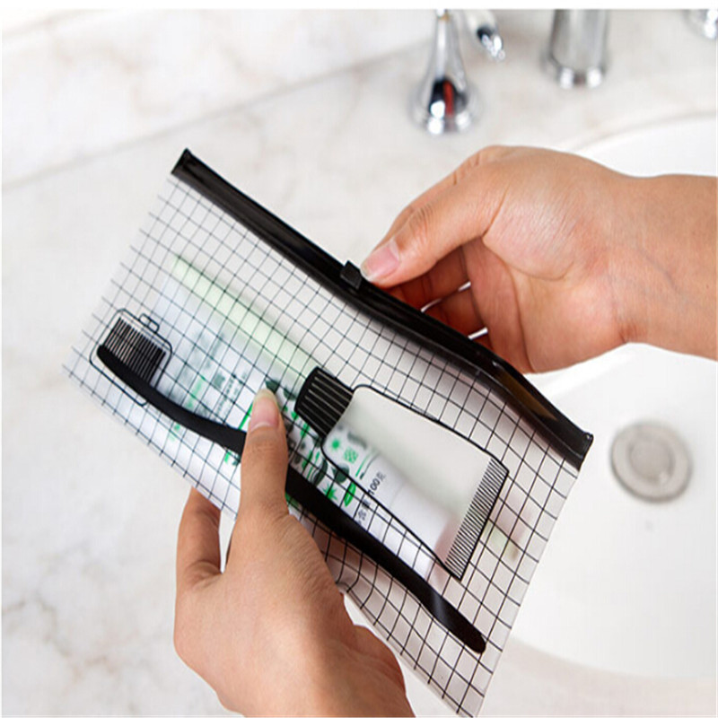 Transparent PVC Waterproof Toothbrush Cosmetic Bag Women Travel Portable Makeup Bag Make Up Organizer Storage Pouch
