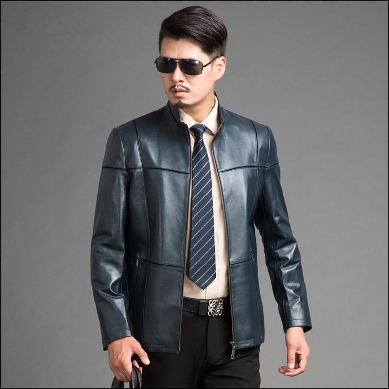 Sheepskin Real Leather Jacket Man Parka Casual Blue Genuine Leather Jacket Men Motorcycle Coat Jaqueta De Couro FYY586
