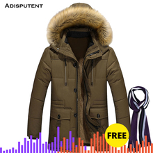 Adisputent Men Hooded Jacket with Pockets Winter Warm Fur collar Men's Patchwork