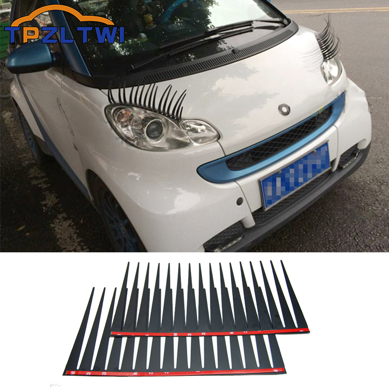 2Pcs 3D Charming Black False Eyelashes Fake Eye Lash Sticker For Smart Fortwo Forfour 453 451 450 452 454 Crossblade City-Coupe