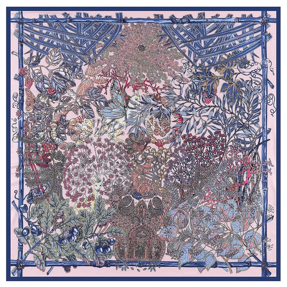 Luxury Brand Scarf 130cm Forest Animal Garden Print Twill 100% Silk Scarf Women Square Scarves Kerchief For Ladies Winter Shawl