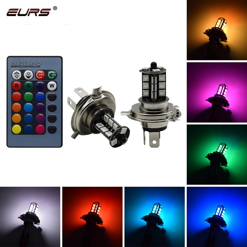 EURS H4 H11 H7 RGB LED Auto Motorcycle Headlight 5050 LED 27 SMD Fog Light H1 H3 21smd LeadLamp With Remote Control Car Styling