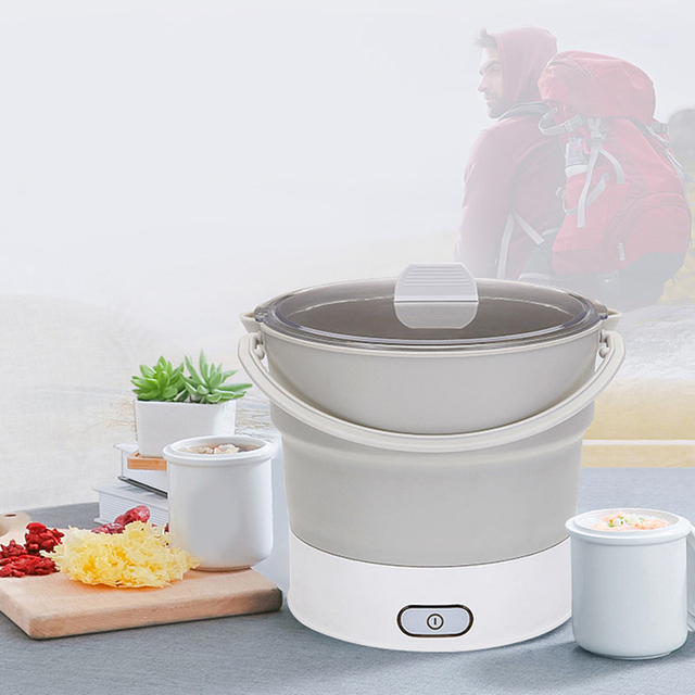 Folding Electric Skillet Kettle Heated Food Container Heated Lunch Box Cooker Portable Hot Pot Cooking Tea Eu Plug