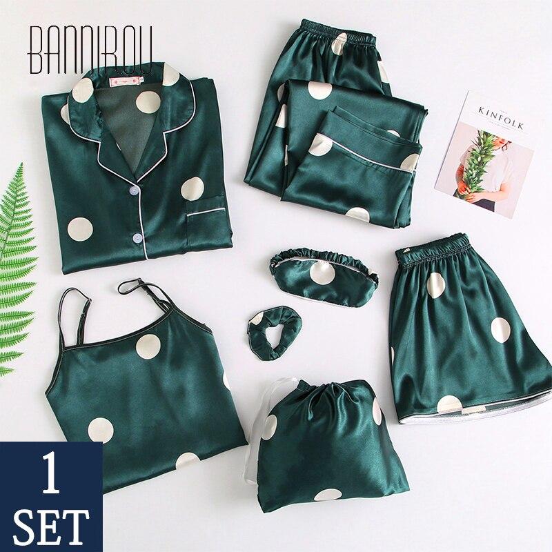 7 Pieces Women's Pajamas Sets Emulation Silk Stain Printed Pyjama Women Sleepwear Sets Spring Summer Autumn Homewear Pyjamas Set