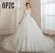 Бальные платья для невесты с кружевной вышивкой и коротким рукавом