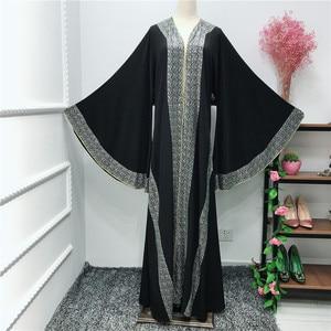 Image 3 - אלגנטי דובאי ערבית מוסלמיות נשים העבאיה שמלת משובץ מואר אבן האיסלאם קפטן עטלף קפטן שרוול ארוך בגדים אסלאמיים גלימה
