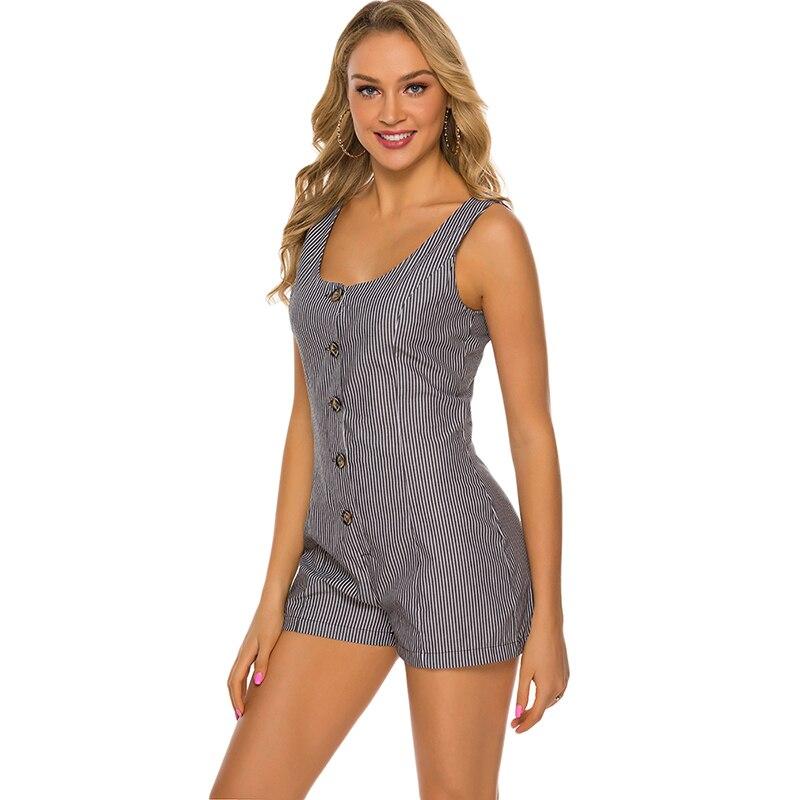 Summer Sexy Jumpsuit Elegant Waist Button Casual Striped One-piece Shorts Female Deep U Neck Jumpsuit Mature Slim Fit Jumpsuits