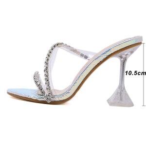 Image 5 - Kcenid прозрачные стразы из ПВХ, хрустальные тапочки, коллекция 2020, Летняя женская обувь с открытым носком для вечерние