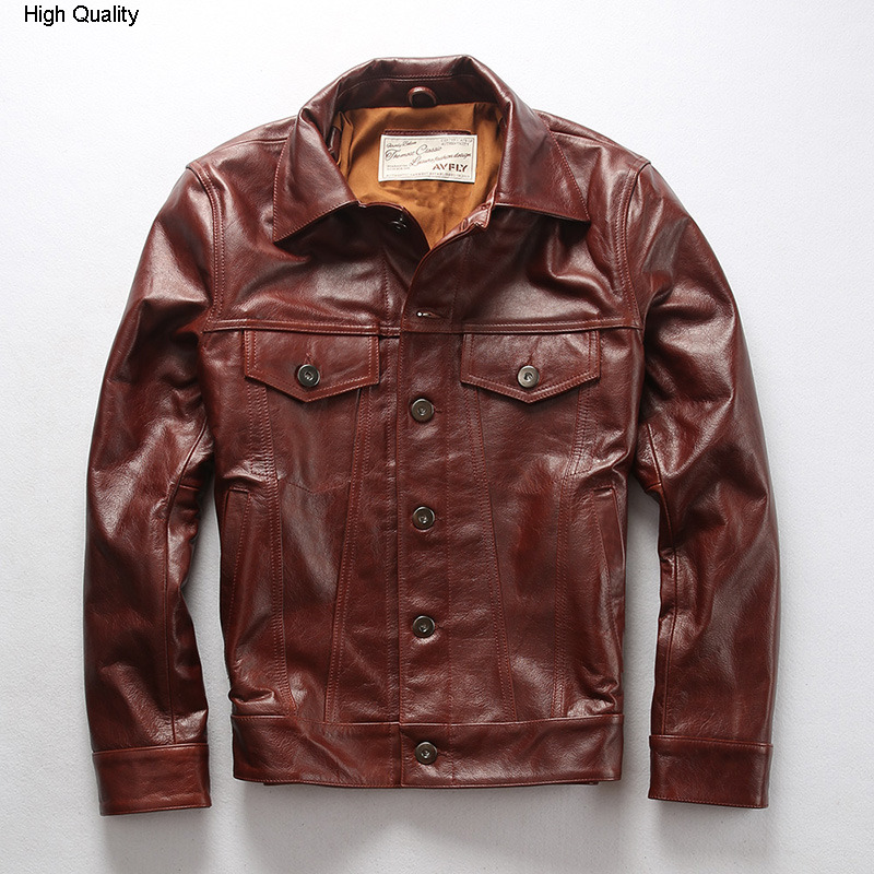 2020 Men's Red Cow Leather Jacket With Pockets Fashion Slim Fit Leather Coat Men Korean Style Casual Leather Shirt Male