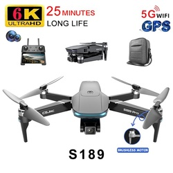 2021 RC Drone S189 GPS 6K HD Dual Camera 5G WIFI FPV Brushless Motor Foldable Quadcopter Helicopter Long Battery Life Gift Toy