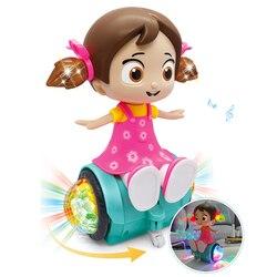Rotação elétrica andando cantando bonecas brinquedos para meninas boneca iluminação música cedo bonecas educacionais para meninas presentes de natal