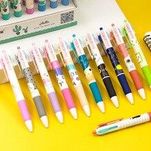 4 قطعة 4 لون الكرتون أقلام حبر جاف Kawaii القط متعدد الألوان القلم 0.5 مللي متر اللون الحبر دفع نمط الكرة القلم لطيف المدرسة اللوازم المكتبية