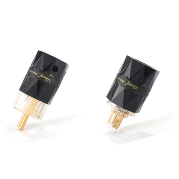Viborg X 1pair VF503G VE503GHifi audio pure copper 24K gold plated  Transparent EU schuko power plug connector extension adapter viborg x 1pair ve 511 transparent 99 99% pure copper eur schuko hifi audio power cord cable power plug iec female connector
