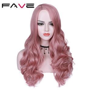 Image 3 - FAVE perruque synthétique longue vague de couleur ombrée avec raie sur le côté Sakura rose violet avec frange pour femmes