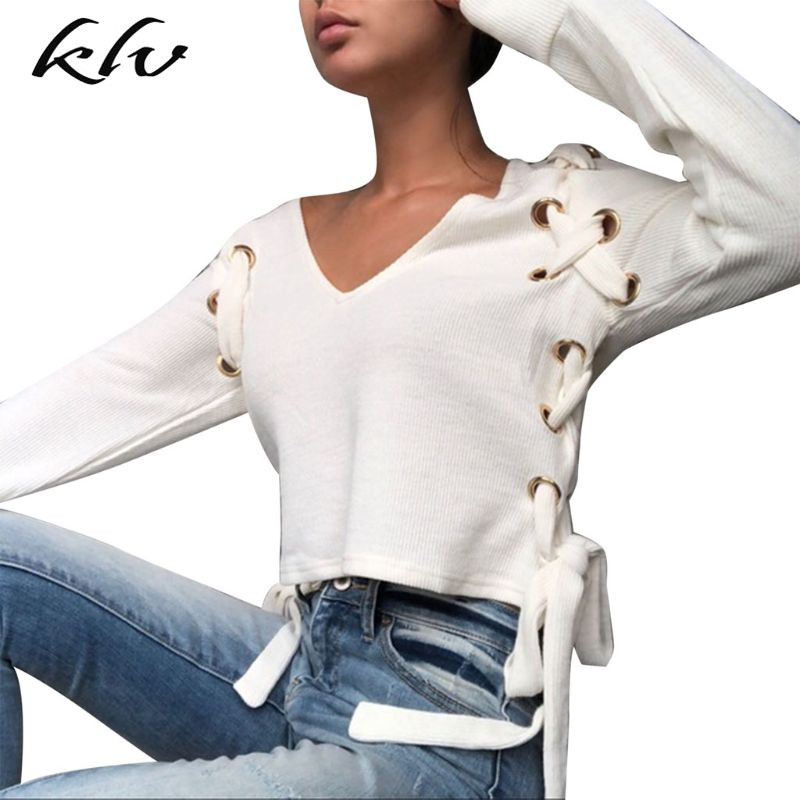 Women Lace-Up Bow-Tie V Neck Long Sleeve Short Top Hollow Knit Casual Tee