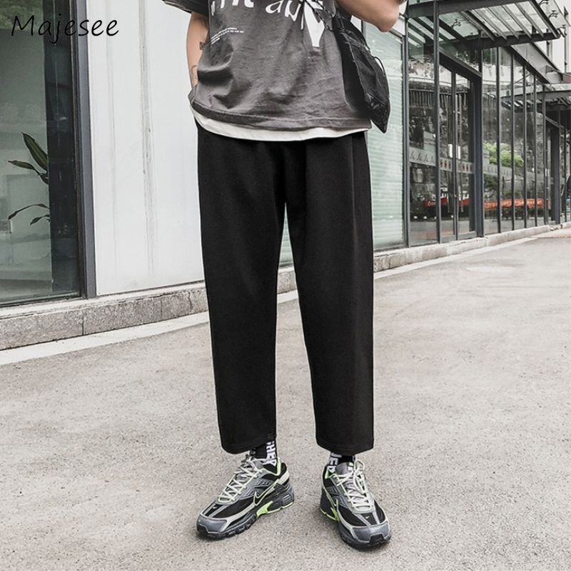 Pants Men Plus Size High Waist Sweatpants Black Casual Slim All Match Mens Korean Style Trendy Streetwear Pocket Drawstring Soft