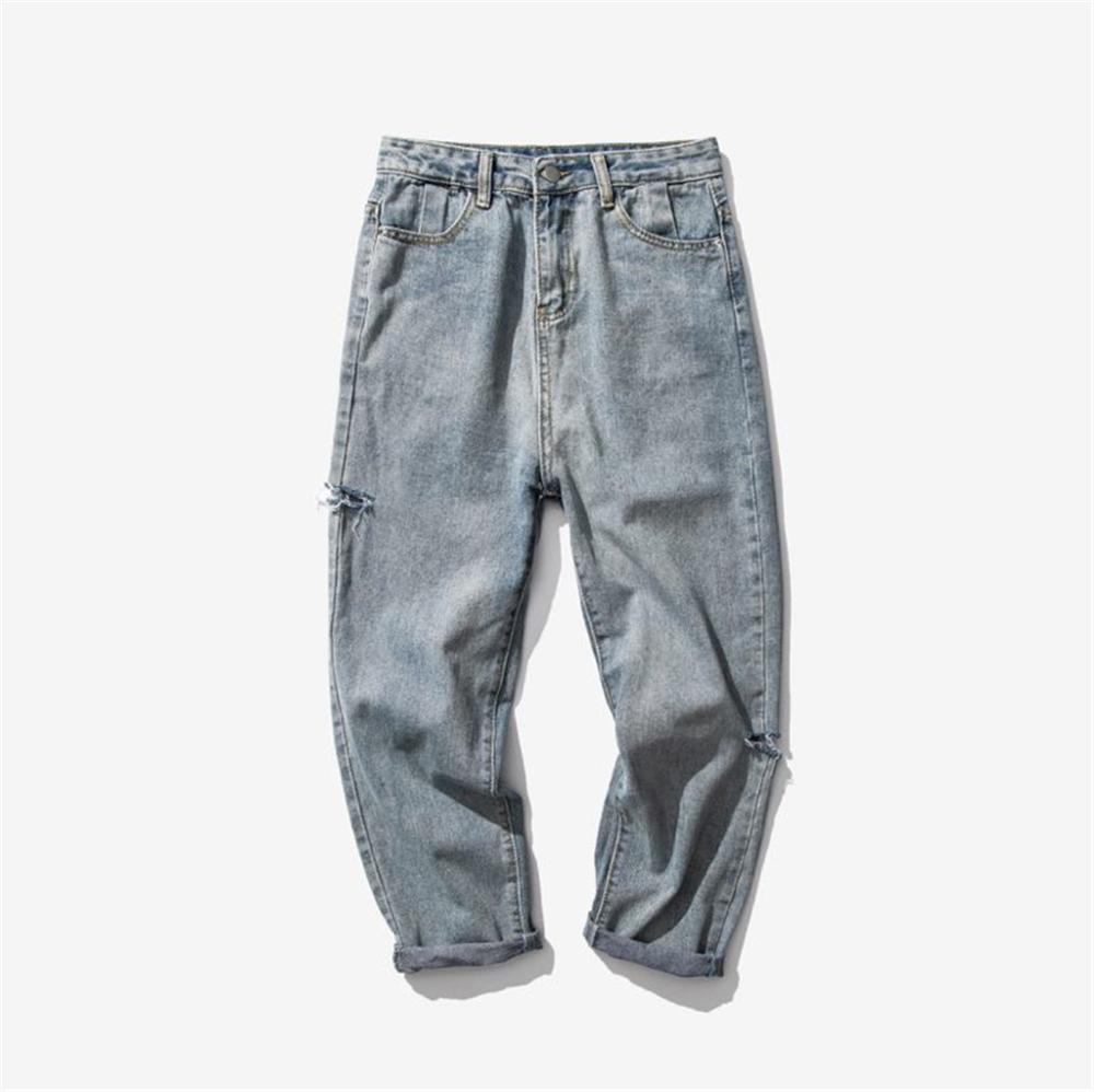 WHolesale 2020 Spring Autumn Japanese Ripped  Jeans Men's Straight Ankle Length Pants Beggar Wide Legs Loose Teenagers Jeans Men