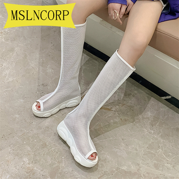 Plus Size 34-46 Fashion Women #8217 s Boots peep toe booties Boots Zipper Sexy Lace Mesh Boots Summer Cool Boot Breathable Women Shoes tanie i dobre opinie MSLNCORP Mesh (air mesh) Połowy łydki Stałe High Heel Shoes Woman Breathable Platform Summer Knee Boots Kliny Podstawowe