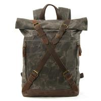 Travel Backpack for Men Leather Waxed Canvas Shoulder Rucksack  Waterproof Roll Top Mountaineering Bag  Large Bag for Travel