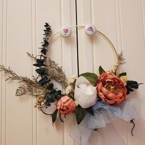 Image 4 - Gold Metal Ring Bride Portable Garland Artificial Flower Rack DIY Wedding Wreath Circle Girls Catching Dream Hoop Hanging Decor