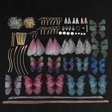 Artesanal grande pacote bonito conto de fadas libélula borboletas asa brincos cicada asa charme brincos jóias fazendo