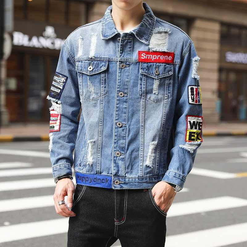 Wordt Vigor Mannen Denim Jean Jacket Applicaties Ripped Mannen Cowboy Wassen Jas Hiphop Straat Jas Bovenkleding Chaqueta Hombre 2019