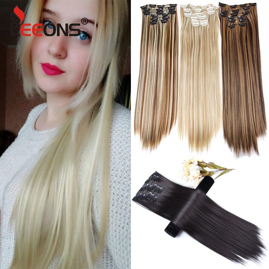 Leeons-extensiones de cabello sintético largo y recto de 22 pulgadas, 16Clips, 16 unidades